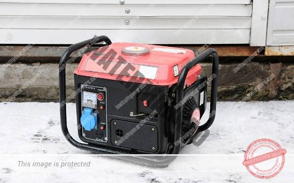 diesel generator sat on the floor on a cold winter day