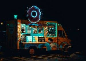 food truck at night powered by a generator