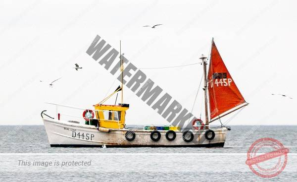 sail boat on the sea with a wind generator on the mast