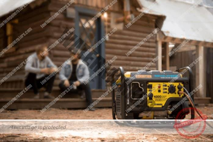 champion DH 4000 portable generator on site with work men sitting in background