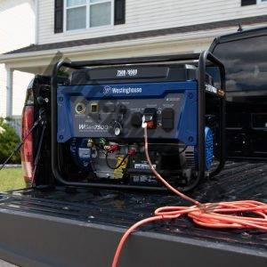 westinghouse WGen7500 generator on a truck bed