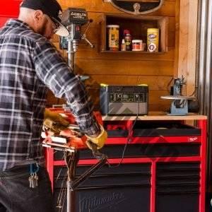 portable power station on workbench in garage