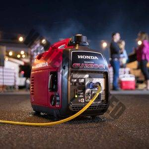 portable generator wired up and in use on a camp site