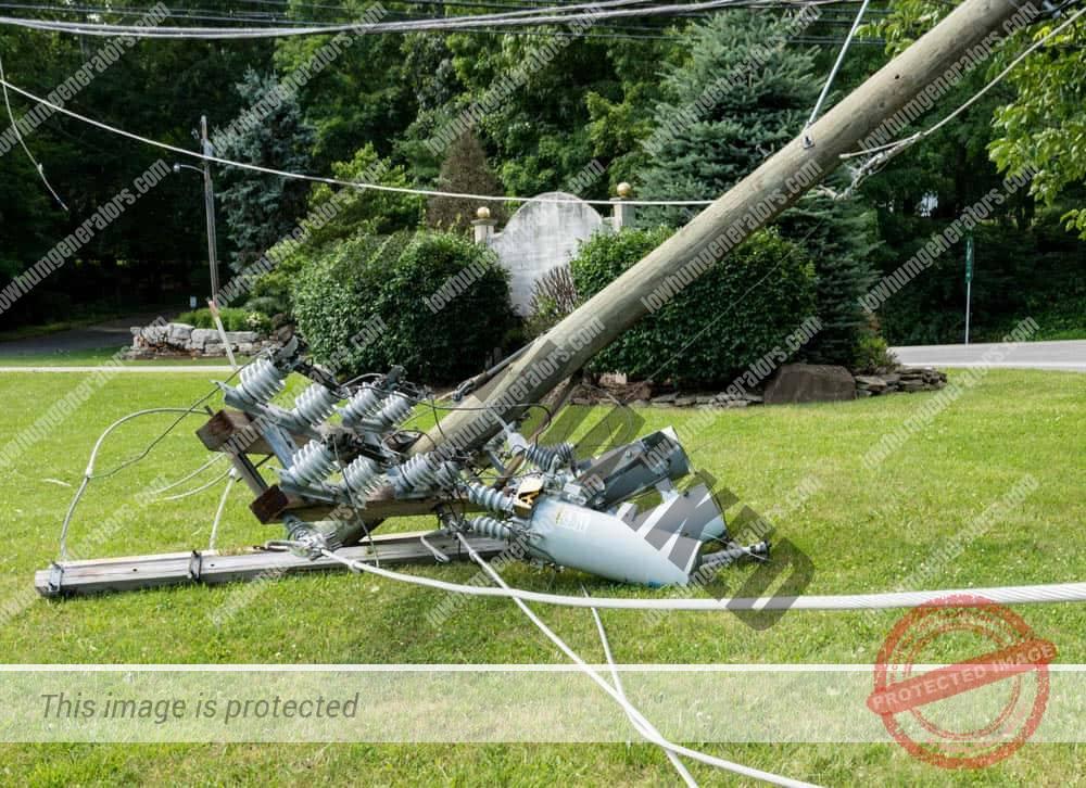 broken powerline on ground after hurricane storm