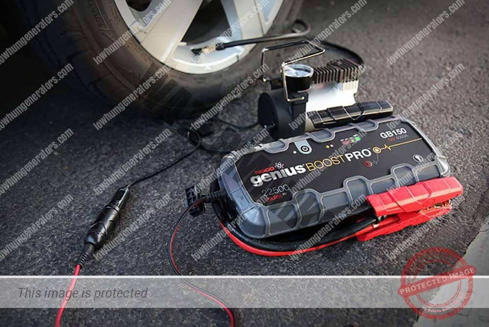 lithium battery pack powering tyre pump