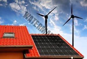 wind turbine on roof with solar panels